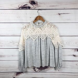 Altar'd State Gray soft lace sweater women's small